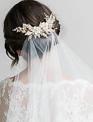 cheap -Insert Comb Bridal Beaded Handmade Fabric Headdress Wedding Hair Accessories White Wedding Dress With Accessories Hair Comb