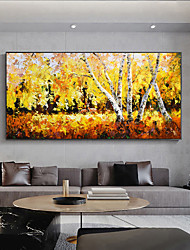 cheap -Original Forest Painting on Canvas Handmade Hand Painted Wall Art Stretched Frame Ready to Hang Large Abstract Yellow Maple Forest Landscape Acrylic Painting Living Room Decor