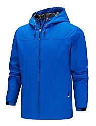 cheap -Men's Jacket Street Daily Going out Fall Regular Coat Zipper Hoodie Regular Fit Breathable Sporty Casual Jacket Long Sleeve Plain Full Zip Pocket Blue Khaki Green / Outdoor