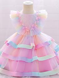 cheap -1 PC Baby Girls' Children's Day Dress Basic Wedding Party Birthday Blue Blushing Pink Gradient Ramp Sequins Rainbow Layered Mesh Short Sleeve Knee-length / Fall / Winter / Spring / Summer