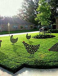 cheap -Christmas Garden Ornament Chicken Yard Art Acrylic Hollow Out Simulation Decoration Garden Black Chicken Card Insertion