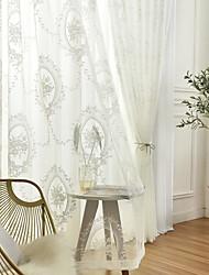 cheap -Window Curtain Window Treatments Semi Sheer White 2 Panels Sheer Voile Grommet Floral/Flower for Living Room Bedroom