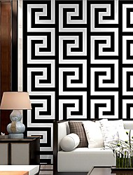 cheap -Wallpaper Wall Covering Sticker Film Peel and Stick Embossed Stripe Vinyl PVC Black And White Back Font Home Deco 53*950CM