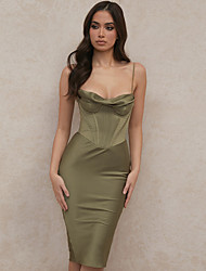 cheap -Sheath / Column Sexy bodycon Homecoming Cocktail Party Dress Spaghetti Strap Sleeveless Knee Length Polyster with Sleek 2021