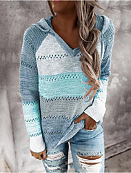 cheap -Women's Pullover Sweater Knitted Color Block Casual Long Sleeve Loose Sweater Cardigans Hooded Fall Winter Wine khaki Green / Holiday / Work
