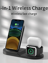 cheap -10 W Output Power USB 3 in 1 Wireless Chargers Wireless Charger Portable Durable Portable Charger CE Certified For Apple Watch Cellphone 1 pc