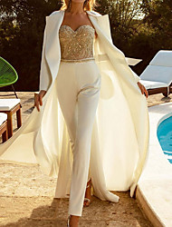 cheap -Jumpsuits Wedding Dresses Strapless Ankle Length Italy Satin Sleeveless Formal Luxurious with Beading Appliques 2021