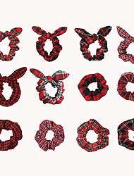 cheap -12 Pieces Christmas Red Plaid Pig Large Intestine Hair Ring Ins Temperament Rabbit Ears Hair Rope Tie Balls Head Rubber Band Hair Accessories