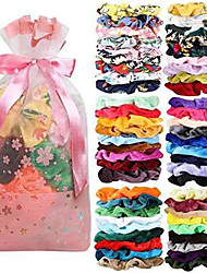 cheap -55-Color Hair Scrunchies Gold Velvet Satin Chiffon Print Large Intestine Ring Hair Ring Set Hair Accessories for Christmas New Year