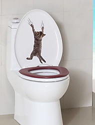 cheap -Animals Wall Stickers Bathroom Toilet Removable Pre-pasted PVC Home Decoration Wall Decal 1pc