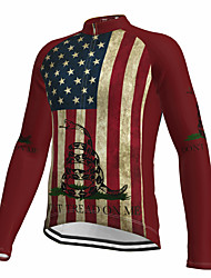 cheap -21Grams Men's Long Sleeve Cycling Jersey Spandex Red American / USA Snake National Flag Bike Top Mountain Bike MTB Road Bike Cycling Quick Dry Moisture Wicking Sports Clothing Apparel / Athleisure