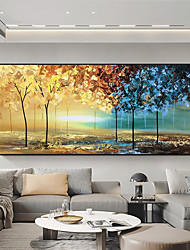 cheap -Original Forest Painting on Canvas Handmade Hand Painted Wall Art Stretched Frame Ready to Hang Large Abstract Bicolor Forest Landscape Acrylic Painting Living Room Wall Art Decor
