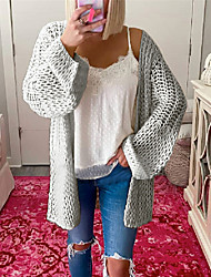 cheap -Women's Sweater Knitted Solid Colored Casual Long Sleeve Sweater Cardigans V Neck Winter Blushing Pink Grey Dark Green