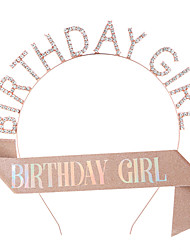 cheap -1 Piece Fashion Birthday Dress Up BIRTHDAY GIRL Headband Shoulder Strap Etiquette Belt Girl Headband Belt