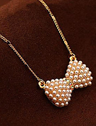 cheap -Pendant Necklace Charm Necklace Women's Geometrical Imitation Pearl Bowknot Fashion Lovely Wedding Gold 45 cm Necklace Jewelry 1pc for Christmas Wedding Street Gift Festival Geometric