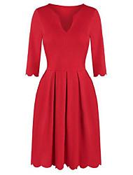 cheap -scalloped hem notched neckline pleated mini dress