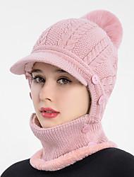 cheap -knit hat Winter Beanie Scarf Set Visor for Men Women Warm Thick Hat for Outdoor Camping Hiking Ski Skull Ski Cap with Visor