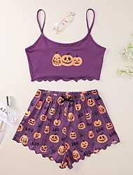 cheap -Women's Pajamas Sets Home Halloween Daily Elastic Waist Cartoon Letter Polyster Helloween Funny Soft Strap Top Shorts Spring Summer Bandeau Short Sleeve Short Pant Not Specified