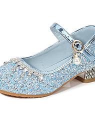 cheap -girls high heels little girl piano performance silver crystal shoes dress model catwalk performance children princess shoes