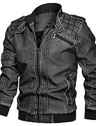 cheap -Men's Jacket Street Daily Going out Fall Regular Coat Zipper Stand Collar Regular Fit Thermal Warm Breathable Sporty Casual Jacket Long Sleeve Plain Pocket Dark Gray / Outdoor