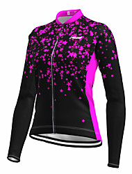 cheap -21Grams Women's Long Sleeve Cycling Jersey Spandex Black Stars Fluorescent Bike Top Mountain Bike MTB Road Bike Cycling Quick Dry Moisture Wicking Sports Clothing Apparel / Stretchy / Athleisure