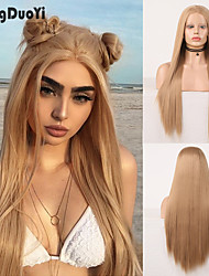 cheap -Synthetic Lace Wig Straight Style 12-26 inch Light Brown Middle Part 2x13 Frontal Wig All Wig Light golden