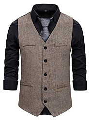 cheap -Men's Vest Business Daily Fall Winter Regular Coat Single Breasted One-button V Neck Regular Fit Thermal Warm Windproof Warm Business Streetwear Jacket Sleeveless Plain Pocket Patchwork Gray Black
