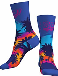 cheap -Socks Cycling Socks Men's Women's Bike / Cycling Breathable Soft Comfortable 1 Pair Nature & Landscapes Palm Tree Cotton Blue S M L / Stretchy