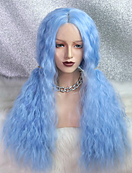 cheap -Synthetic Lace Wig Curly Style 24 inch Blue Layered Haircut 4x13 Closure Wig Women's Wig Light Brown Lace