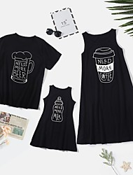 cheap -Family Sets Family Look Cotton Graphic Daily Print Black Sleeveless Knee-length Tank Dress Basic Matching Outfits / Summer / Long / Cute