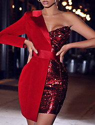 cheap -Women's Sheath Dress Short Mini Dress Black Red Long Sleeve Color Block Sequins Patchwork Fall Spring One Shoulder Casual Sexy Party Regular Fit 2021 S M L XL / Party Dress
