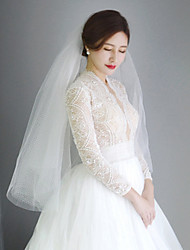 cheap -One-tier Cute / Sweet Wedding Veil Fingertip Veils with Solid Tulle