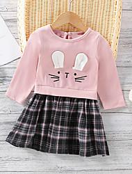 cheap -Toddler Little Girls' Dress Plaid A Line Dress Daily Patchwork Yellow Blushing Pink Gray Knee-length Long Sleeve Cute Dresses Fall Winter Regular Fit 1-5 Years