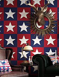 cheap -Wallpaper Wall Covering StickerF ilm Peel And Stick Embossed Stripe Captain America Red White Blue Pentagram Children Cartoon  Non Woven Home Deco 53*1000CM