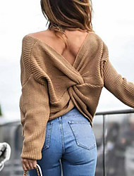 cheap -Women's Pullover Sweater Backless Criss Cross Knitted Solid Color Casual Sexy Long Sleeve Regular Fit Sweater Cardigans V Neck Fall Winter Valley Yellow Grey White / Holiday