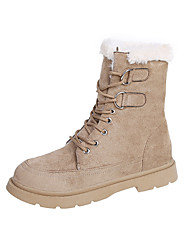 cheap -Women's Boots Flat Heel Round Toe Booties Ankle Boots Daily Work Suede Solid Colored Khaki Black