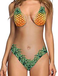 cheap -Women's One Piece Romper Swimsuit Print Pearl pineapple Rose flower Avocado shell Swimwear Bathing Suits Cute Sweet