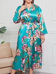 cheap -Women's Plus Size Breathable Robes Gown Pajamas Bathrobes Home Daily Vacation Spa Print Plant Satin Luxury Chinoiserie Soft Cute Fall Winter Spring V Wire Long Sleeve Lace Up Belt Included