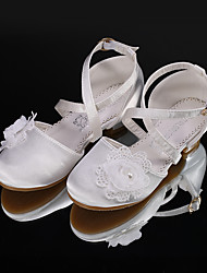 cheap -Girls' Heels Flower Girl Shoes Satin Wedding Dress Shoes Little Kids(4-7ys) Big Kids(7years +) Wedding Party Party & Evening Flower Champagne Ivory Fall Summer