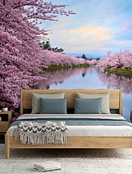 cheap -Mural Wallpaper Wall Sticker Covering Print Custom Peel and Stick  Removable Self Adhesive Landscape Cherry Blossoms PVC / Vinyl Home Decor