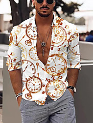 cheap -Men's Shirt Clock Button-Down Print Long Sleeve Street Regular Fit Tops Cotton Casual Fashion Breathable Comfortable White / Fall / Winter