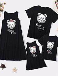 cheap -Family Sets Family Look Cotton Cartoon Bear Daily Print Black Sleeveless Knee-length Tank Dress Basic Matching Outfits / Summer / Long / Cute