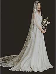 cheap -One-tier Cute / Sweet Wedding Veil Chapel Veils with Solid Lace