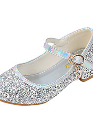 cheap -Girls' Heels Flower Girl Shoes Formal Shoes Princess Shoes School Shoes Rubber PU Portable Non Slip Wedding Sequins Big Kids(7years +) Little Kids(4-7ys) Daily Party & Evening Walking Shoes