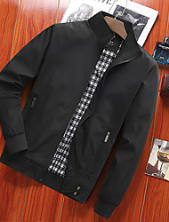 cheap -Men's Jacket Street Daily Going out Fall Regular Coat Zipper Stand Collar Regular Fit Breathable Sporty Casual Jacket Long Sleeve Plain Full Zip Pocket Gray Black Navy Blue / Outdoor