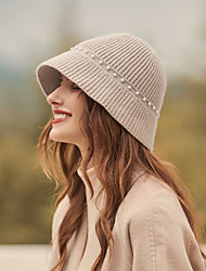 cheap -Elegant Retro Wool / Acrylic Hats with Pearls / Solid 1pc SchoolWear / Casual Headpiece