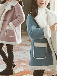 cheap -Kids Girls' Jacket & Coat Blue Blushing Pink Solid Color Plush Cute 3-13 Years / Fall / Winter