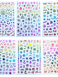 cheap -16 Pcs Merry Christmas Nail Art Decals Decoration Self Adhesive Nail Art Stickers Manicure Design White Snow Sticker for Nail Design