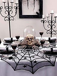 cheap -Round Table Cloth Halloween Party Decoration Lace Backdrop Spider Web Black Runner Halloween Horror Props Modern Luxury