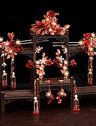 cheap -1 Piece Bridal Headwear Red Tassel Clothing Wedding Hair Accessories Set Ancient Wedding Accessories